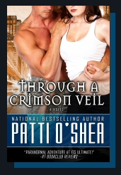 Cover of Through a Crimson Veil by Patti O'Shea paranormal action adventure romance